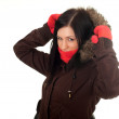 Woman in winter jacket with hood — Stockfoto