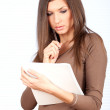 Young woman with blank card — Stock Photo