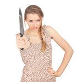 žena vedení nůž — Stock fotografie