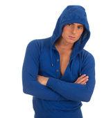 молодой человек в синей толстовка с капюшоном — Стоковое фото