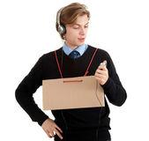 Homem em fones de ouvido — Foto Stock