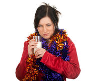 Woman in pajamas and Christmas chains — Stock Photo