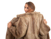 Piękna kobieta w futrze — Zdjęcie stockowe