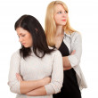 Two girlfriends quarrel — Stock Photo