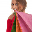 Young woman & coloured shopping bags — Stock Photo #4591205