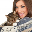 Smiling young woman with cat — Stock Photo #4621087