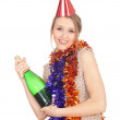 Woman with bottle of champagne — Stock Photo