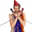 Woman in cone hat with phone — Stock Photo