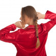Stock Photo: Womin red pajamas