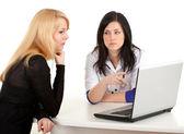 Consultation - doctor, patient, laptop — Stock Photo