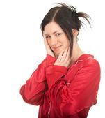 头痛的年轻女人 — 图库照片