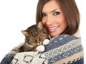 Smiling young woman with cat — Stock Photo