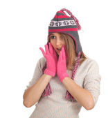 冬帽的年轻女人 — 图库照片