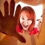 Furious, shouting young woman — Stock Photo