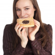 Young woman with tasty cake — Stock Photo
