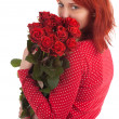 Lovely woman with red roses — Stock Photo