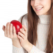 Woman with apple — Stock Photo