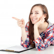 Smiling young woman with clipboard — Foto Stock