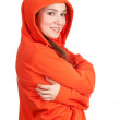 Woman in orange sweatshirt and hood — Stock Photo