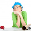Stockfoto: Female architect with blueprints