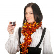Young woman with wine - Foto Stock