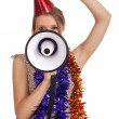 Young woman with megaphone - Foto Stock