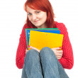 Stock Photo: Student woman with note pads