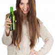 Teen girl with beer - Stock Photo