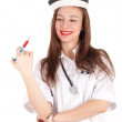 Lady nurse with syringe - Stock Photo