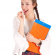 Smiling student woman and lollipop — Stock Photo #4876553