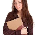 mulher bonita sorridente com livro — Foto Stock