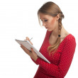 Young woman with notebook — Stock Photo