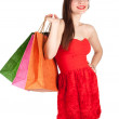 Young woman & coloured bags — Stock Photo