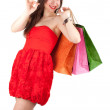 Young woman & coloured bags — Stock Photo #4878074