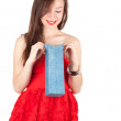 Young woman with present bag — Stock Photo