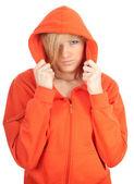 橙色运动衫和敞篷的女人 — 图库照片