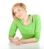 Lachende jonge vrouw — Stockfoto