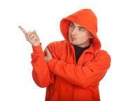 橙色运动衫的男人 — 图库照片