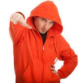 Hombre de camiseta naranja — Foto de Stock