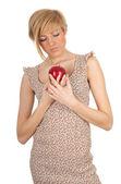 Kobieta z jabłkiem — Zdjęcie stockowe