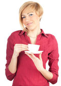 Young woman drinking coffee — Стоковое фото