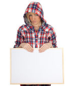 Woman with blank sign, billboard — Stock Photo