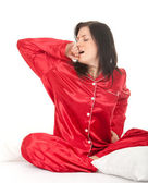 Kobieta w czerwonej piżamy — Zdjęcie stockowe