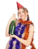 瓶香槟的女人 — 图库照片