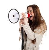 молодая женщина и мегафон — Стоковое фото