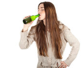 Teen girl with beer — Stock Photo