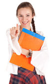 Pointing smiling student woman — Stock Photo