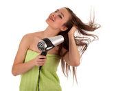 若い女性乾燥髪 — ストック写真