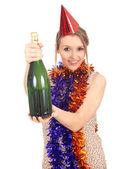 Kvinna med flaska champagne — Stockfoto