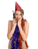 Woman in cone hat with phone — Stockfoto